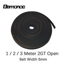 Bemonoc 2GT Open Synchronous Timing Belt GT2 Width 6mm Rubber Belt for Small Backlash Linear Motion 3D Printer 1/2/3Meter Choose