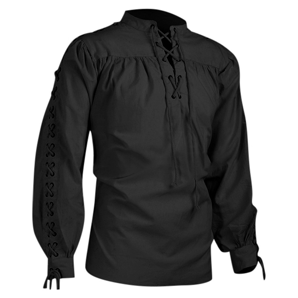 Men Medieval Long Sleeve Stand Collar Shirt Vintage Retro Party Victorian Gothic Bandage Decorated Lace-Up Shirt Men Tops Ivory