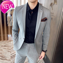 Pant Jacket + Two-piece Suits Blazers Coat Trousers One Button New Spring Men Business Slim Suit Sets Wedding Dress(China)
