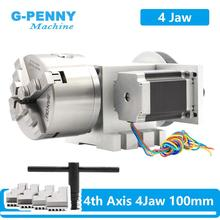 4 Jaw 100mm CNC 4th Axis Reduction ratio 6:1 CNC dividing head/Rotation A axis kit  Nema23 for woodworking engraving machine