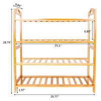 Entryway Shoe Shelf Organizer Concise 12 Batten 4 Tiers Free Standing Bamboo Shoe Rack with Handles For Bathroom Kitchen