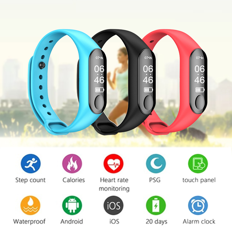 Dégagement M3 bande intelligente hommes femmes moniteur de fréquence cardiaque Bracelet intelligent Fitness Tracker Bracelet de santé podomètre montre de sport