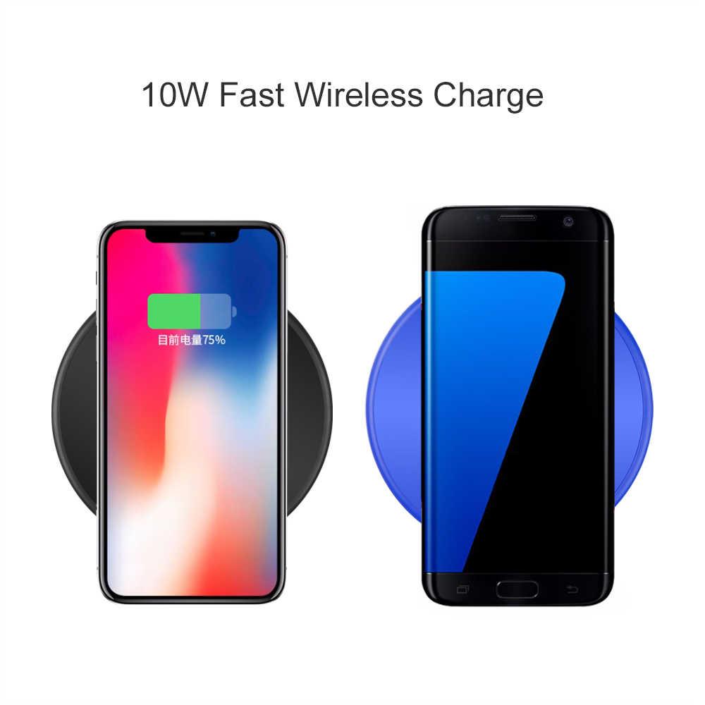 10W Nirkabel Cepat Charger untuk Samsung Galaxy S9/S9 + S8 S7 Catatan 9 Qi USB Cepat pengisian Pad untuk iPhone X Max XR X 8 PLUS