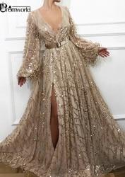 Sexy fente or robes de soirée 2020 dernière mode paillettes dentelle dubaï saoudien arabe robes de bal manches longues robe de soirée formelle