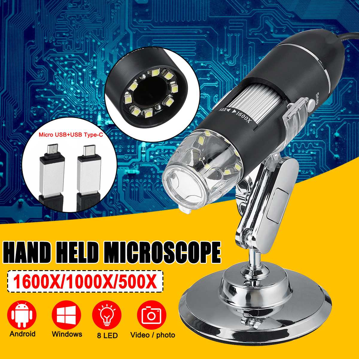 3 In 1 8 LED Digital Microscope Type-C/Micro USB For Android Phone PC Magnifier Electronic Digital Microscope 500X 1000X 1600X