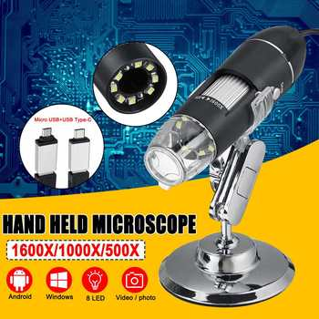 3 w 1 8 LED cyfrowy mikroskop type-c Micro USB na telefon z systemem Android PC lupa elektroniczny mikroskop cyfrowy 500X 1000X 1600X tanie i dobre opinie ZEAST 500X-1500X Z tworzywa sztucznego Wysokiej Rozdzielczości Handheld PORTABLE