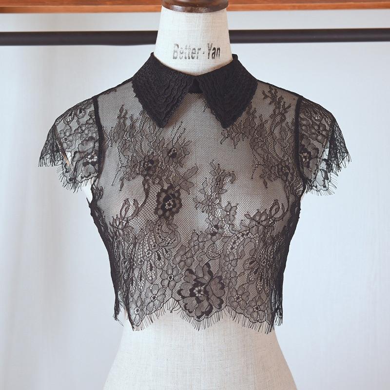 Elegant Black Fake Collar Lace Elegant Women Fake Half Shirt Detachable White False Collars Woman Neckwear Clothing Accessories
