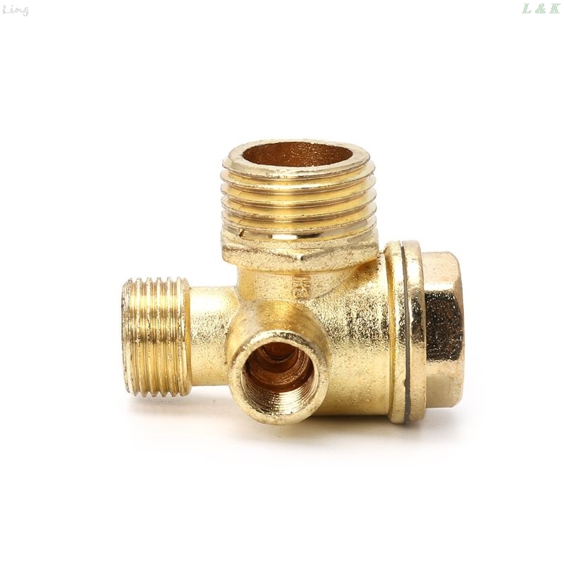 3-port Zinc Alloy Air Compressor Check Valve Central Pneumatic Valves Thread 90 Degree