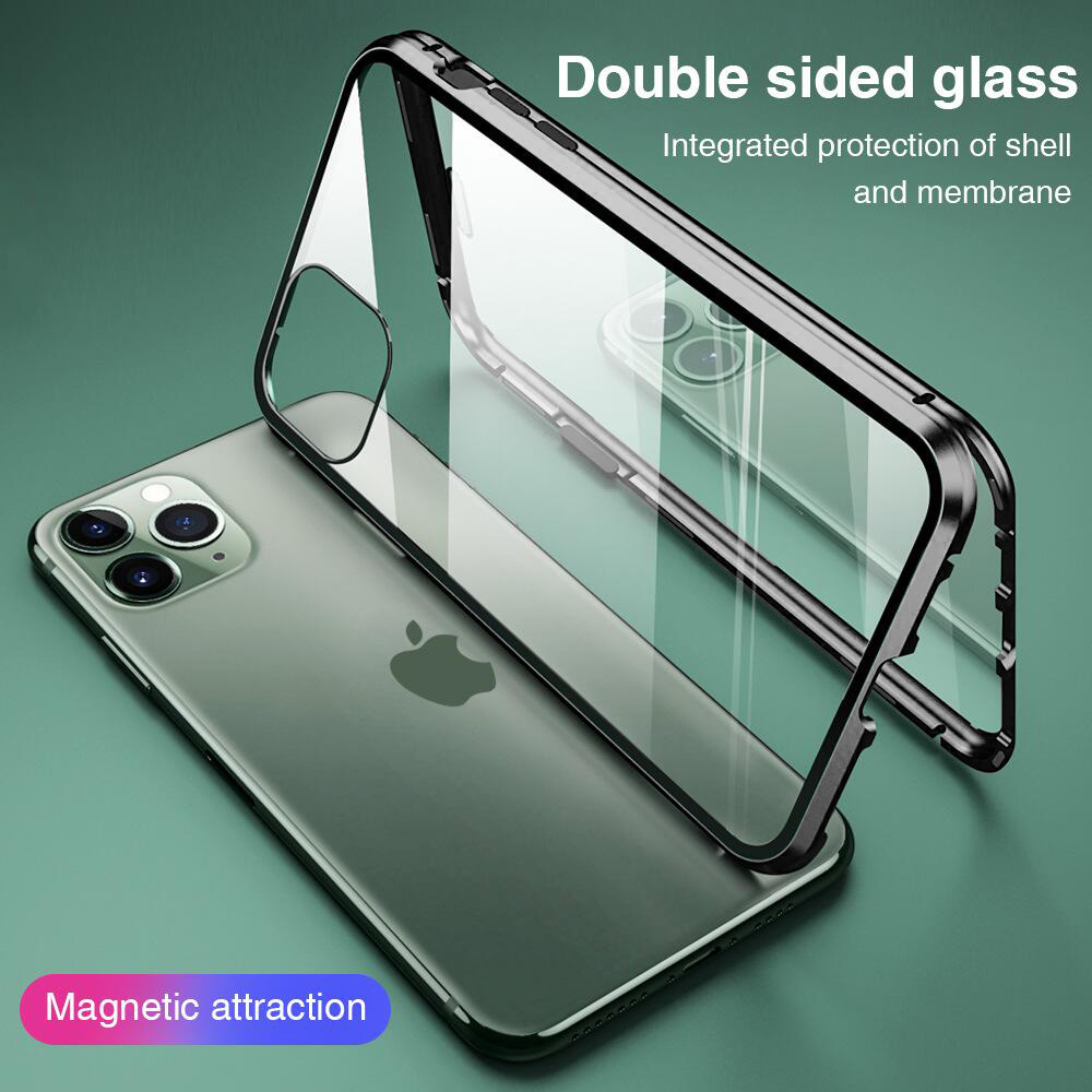 Double Side Magnetic Fall für <font><b>IPhone</b></font> 11 Pro XR XS MAX X 8 7 6 6s Plus Magnet Glas telefon Abdeckung für <font><b>iPhone</b></font> 7 Fall Magnetische Coque image