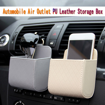 Car Auto Vent Outlet Trash Box PU Leather Car Mobile Phone Holder Storage Bag Organizer Car Styling Automobile Hanging Box image