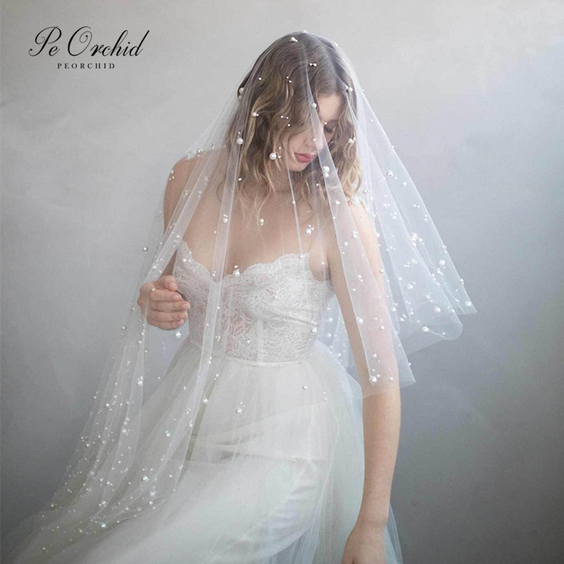 PEORCHID 2020 Short Wedding Veils Pearls With Comb Two Layers White Soft Tulle Bridal Veil For Church Hochzeit Schleier