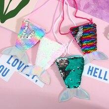 Kids Mermaid Tail Coin Bag Sequin Wallet Bags Girl Crossbody Bag Keys Card Holder Pouch