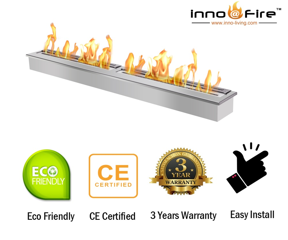 Inno Living Fire  48 Inch Stainless Fire Pit Burner Indoor Usage Fireplace