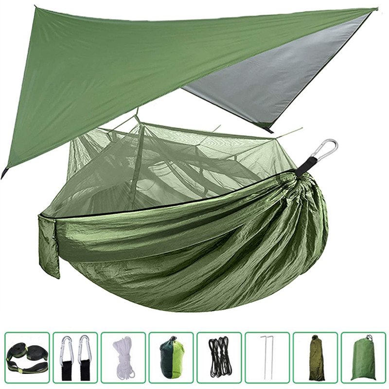 Portable Camping Hammock with Mosquito Net, Rain Fly and Tree Straps for Indoor, Outdoor, Backpacking, Travel, Beach, Hiking|Hammocks| - AliExpress