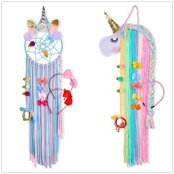1pc/2pcs Colorful Unicorn Storage Decor Hanger Hanging Wall Headwear Organizing Strip Cute Clips Hair Clip Hairband Organiz Girl