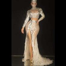 Женское длинное платье с блестками, серебристое платье с бахромой и камнями, из спандекса