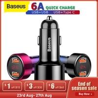 Baseus 45W Quick Charge 4,0 3,0 USB Auto Ladegerät Schnell Ladegerät SCP QC 4,0 QC 3,0 PD USB C telefon Ladegerät für Xiaomi iPhone X XR