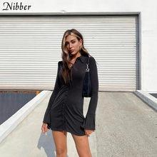 Nibber-Vestido corto ajustado de manga larga para otoño, minivestido negro liso para mujer, moda 2020