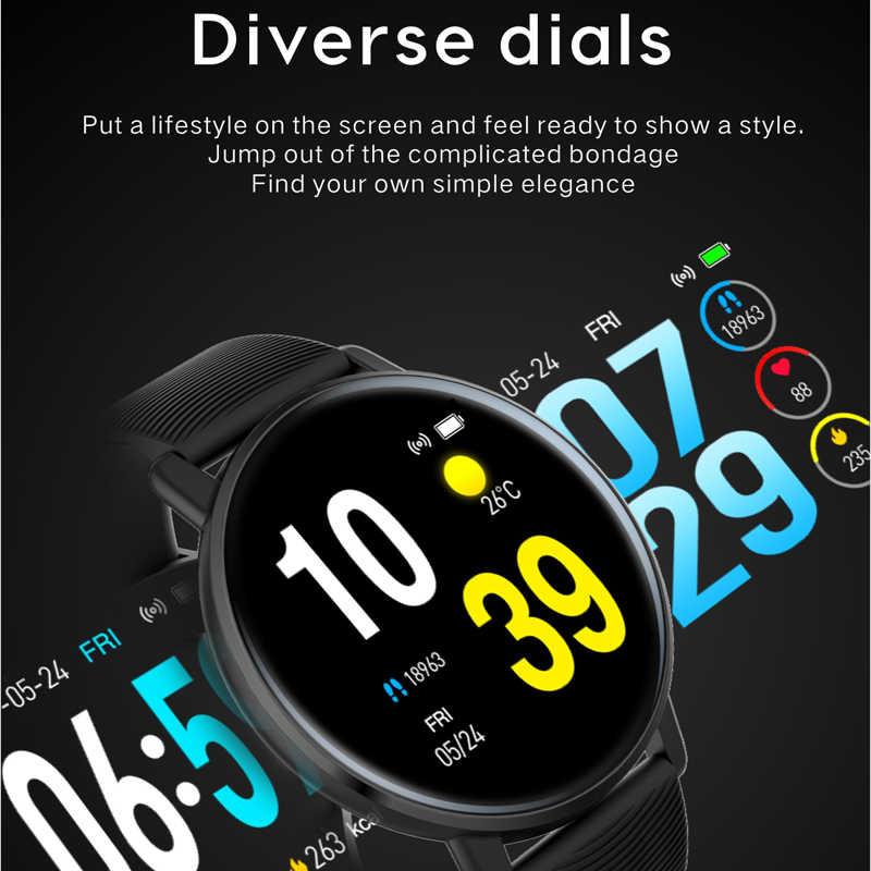 Lerbyee relógio de fitness h5 tela colorida monitor freqüência cardíaca relógio inteligente à prova dwaterproof água pedômetro previsão do tempo smartwatch para o esporte