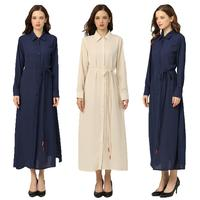 Fashion Women Long Sleeve Maxi Shirt Dress Soild Color Button Split Evening Gown Single breasted Turn down Collar Side Slit New