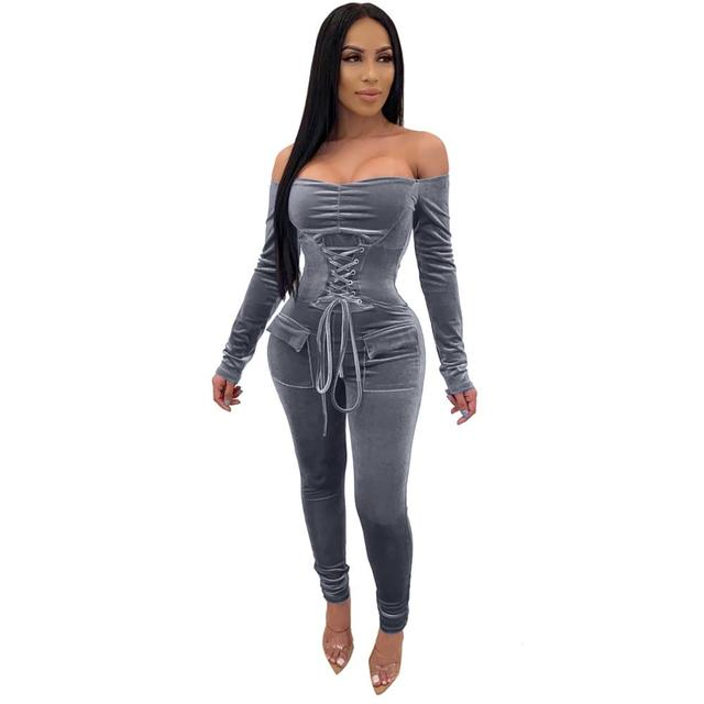 Echoine Sexy Off Shoulder Bandage Grommet Jumpsuit Women Velvet Skinny Rompers Party Club Outfits Playsuit Pocket Overalls Red 2