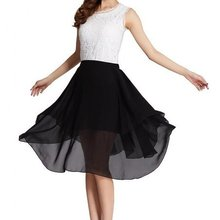 Customize Cheap Summer Women's Elegant Plus Size 3XS-8XL Irregular High Elastic Waist Chiffon Below Knee Long Skirt Saias Longa