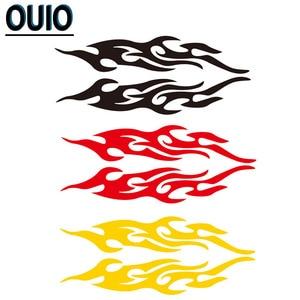 Image 5 - 4 pièces 19/29/58cm feu motif voiture autocollants réfléchissants bricolage style décalcomanies moto Auto carrosserie autocollant noir blanc rouge jaune bleu