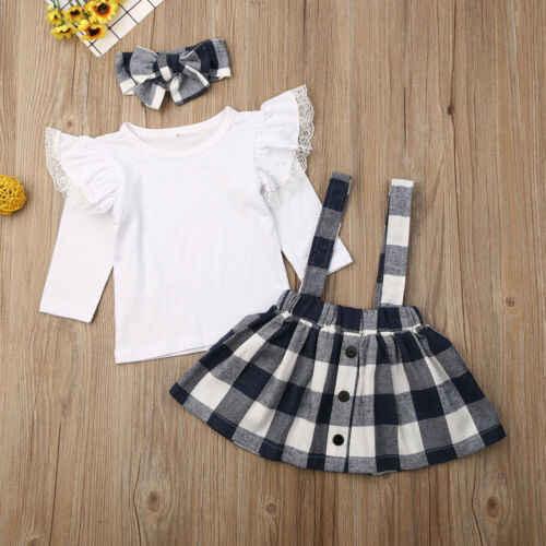 Frühling Herbst Kleinkind Kinder Baby Mädchen Fliegen Lange Hülse T-Shirts Plaid Bib Röcke Stirnband 3 stücke Outfits Set Kleidung für 1-5 jahre