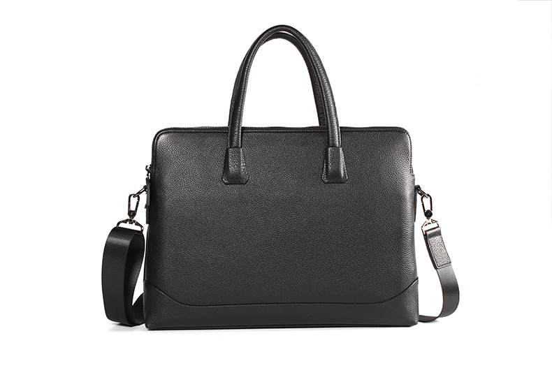 Genuine Leather Casual Square Business Laptop Zip Office Bag