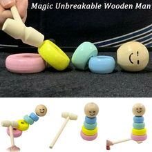 Creative Immortal Daruma Halloween Magic Stubborn Wood Man Tricks Funny Toy Stag