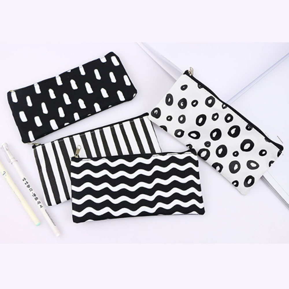 1pcs Multicolor Stripe Pencil Case Cosmetic Makeup Coin Pouch Organizer Zipper Purse Bag Box Stationary School Office Supplies