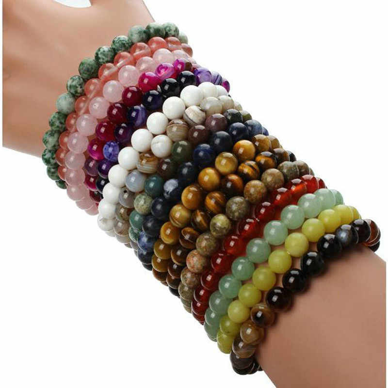 Yoga Bracelets Fashion Natural Stone Bracelets For Women Men Imitation Rose Quartzs Tiger Eyes Agates Beaded Pulseira Masculina