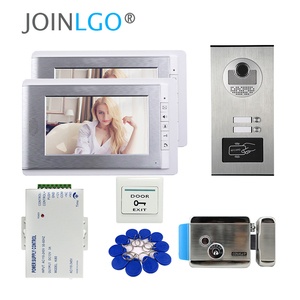 """Image 5 - FREE SHIP 7"""" Screen Video Door Phone Doorbell Intercom System + RFID Access Camera for 4 / 3 / 2 Family  Apartment Electric Lock"""