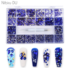 Wholesale Blue Nail Art Rhinestone Set Multi Shape Crystal Flatback Glass Diamond Sapphire Fancy Nail Decoration 10920Pcs