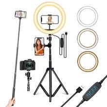 Tongdaytech-Anillo De Luz LED regulable para selfi, 16CM/26CM, cámara De teléfono, trípode para maquillaje, vídeo, Aro De Luz en vivo