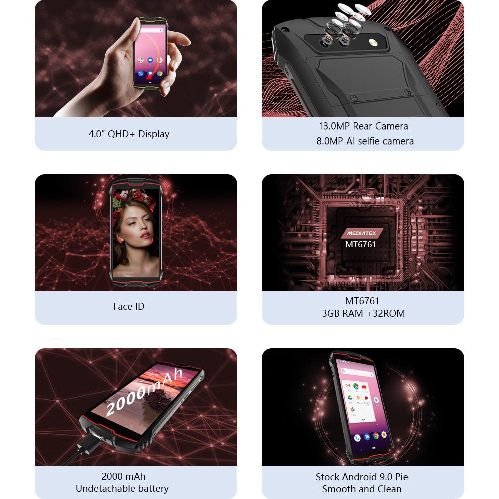 Cubot KingKong 4 inch mini shockproof mobile phone Android 9.0 4G LTE Rugged Smartphone 2000mAh 3GB+32GB 13MP Camera Unlock