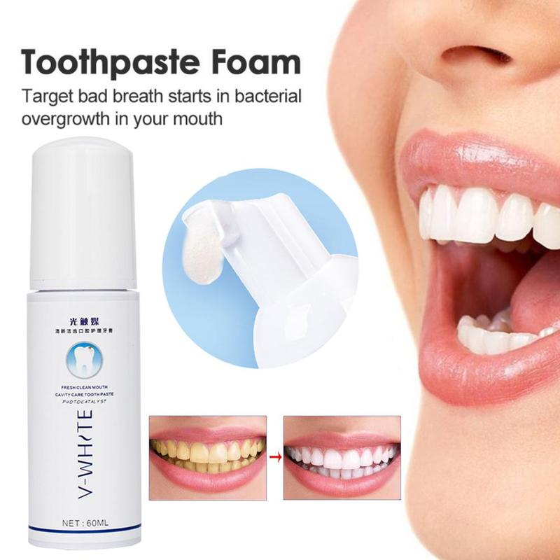 60ml Natural Ultrasonic Foam Toothpaste Whitening Mouth Wash Water