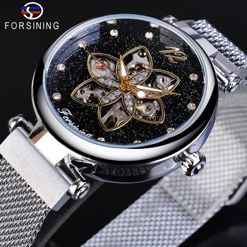 Forsining Mechanical Fashion Women Watches Top Brand Luxury Diamond Casual Design Silver Mesh Automatic Waterproof Female Watch loreo authentic automatic mechanical watch waterproof belt diamond fashion luxury elegant hollow lady watch