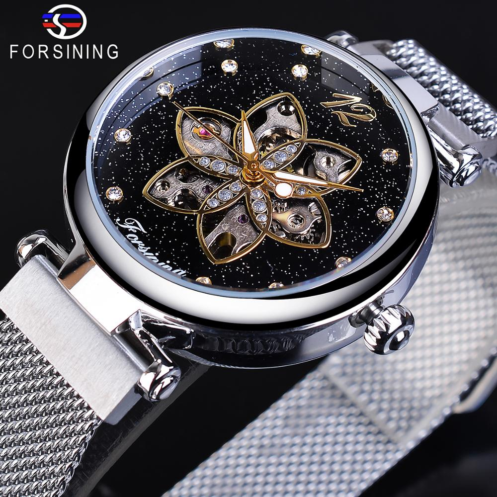 Forsining Mechanical Fashion Women Watches Top Brand Luxury Diamond Casual Design Silver Mesh Automatic Waterproof Female Watch