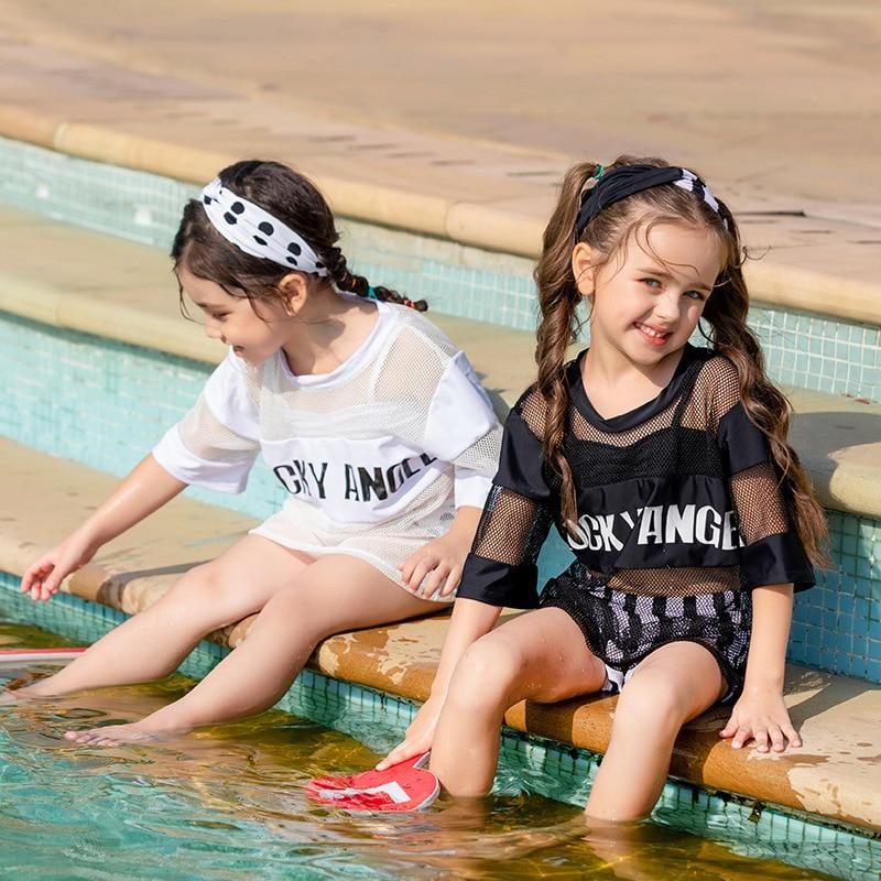 19 Europe And America New Style Hot Sales Split Type Bikini Three-piece Set Have Hair Band Blouse Stripes Dots Girls KID'S Swimw