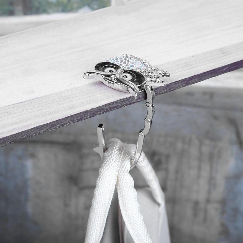 Foldable Crystal Rhinestone Owl Bag Table Hook Folding Purse Handbag Hanger Holder Fashion Home Decoration Oraganizer