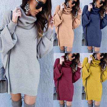 2020 New Women Casual Autumn and Winter New Style Large Size Loose High Collar Long Turtleneck Solid Elegant Sweater 4 colors 1