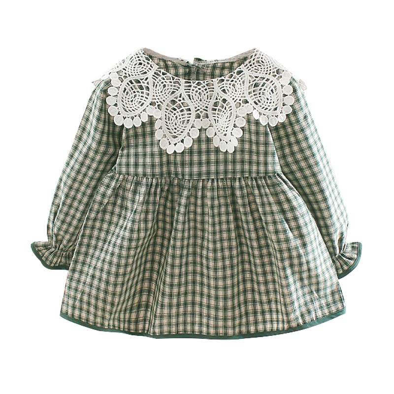 Dress Long-Sleeve Lace-Design Pageant Toddler Baby-Girls Plaid Autumn Kids Children Casual