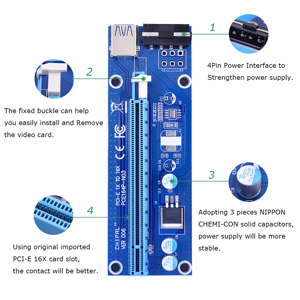 CHIPAL VER006 60CM PCIe PCI-E 1X to 16X Riser Card Extender SATA to 4Pin Power Cord USB 3.0 Data Cable for BTC Miner Bitcoin-2