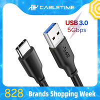 Cabletime usb tipo c cabo 3a usb 3.0 carga rápida para samsung s9 tipo-c cabo de carregamento do fio usb c do telefone móvel para xiaomi c265