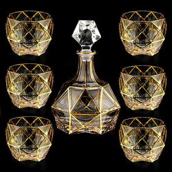 Bohemian gold-lined crystal glass whiskey glass home European-style lead-free foreign wine glass seven-piece set wine set
