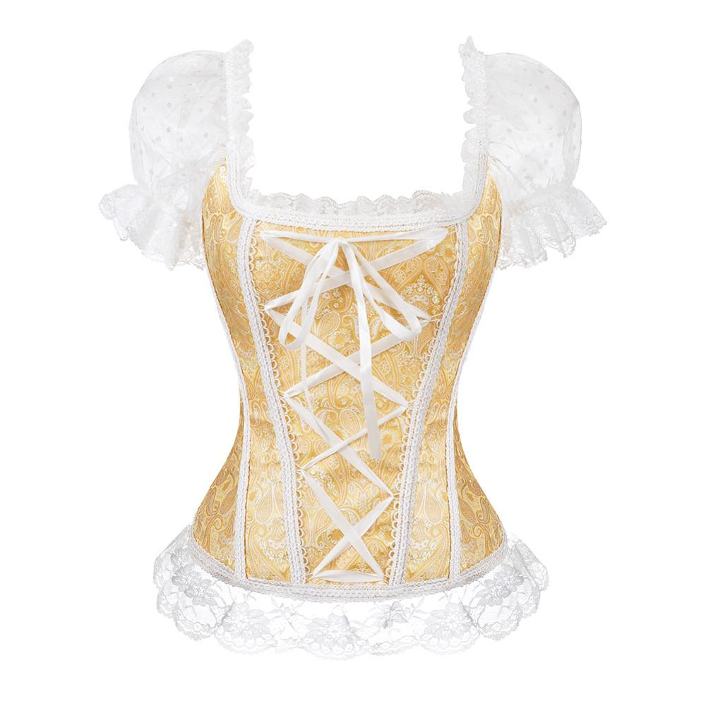 New Overbust   Corset   Vest Pink   Bustier     Corset   Tops For Women Black Lace up Brocade Strap Corselet Plus Size Sexy Lenceria Korse