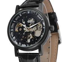 WINNER 2019 New Fashion Men's Watch Hollow Engraving Case PU Leather Skeleton Mechanical Wrist Watches for Men Clock Timer(China)