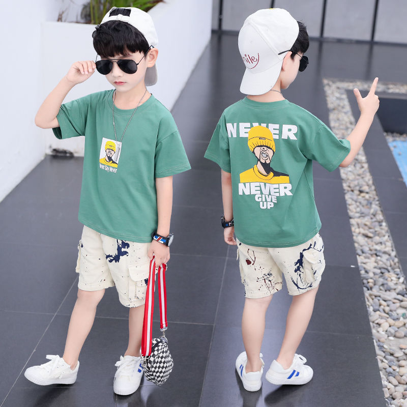 Boys <font><b>Clothes</b></font> Summer New Children Clothing Korean Style Short Sleeve Two-Piece Set for 4-14 <font><b>Years</b></font> <font><b>Old</b></font> image