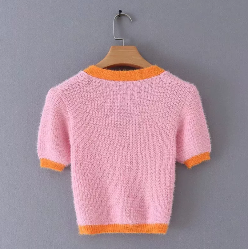 Pink cardigan womens sweaters korean crop sweater yellow autumn tops short sleeve v neck short cardigan mohair sweater fall 19 4